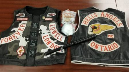 A joint effort by police force's led to the seizure of three Hell's Angels vests, 154 grams of cocaine, tasers, and other items.