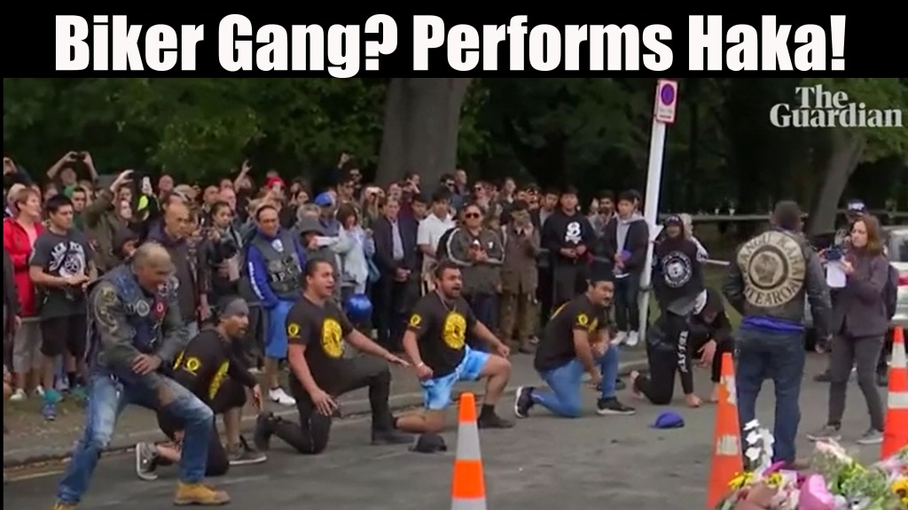 A motorcycle club performs haka in tribute to Christchurch victims.