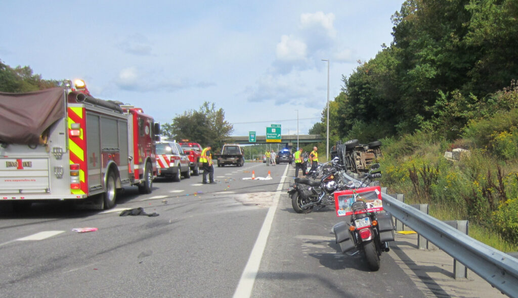 State police investigate a crash in September 2017 that killed motorcyclists Jamie Gross, 58, of Belmont, and Aaron White-Sevigny, 25, of Windsor, on Interstate 95 in Augusta. The two were riding in the annual United Bikers Toy Run from Augusta to the Windsor Fairgrounds. Kennebec Journal file photo