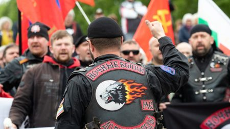 Members of motorcycle club 'Night Wolves' at the commemoration of World War II at the Soviet War Memorial in the Treptower Park, Berlin, Germany, May 9, 2019. Photo: EPA-EFE/HAYOUNG JEON