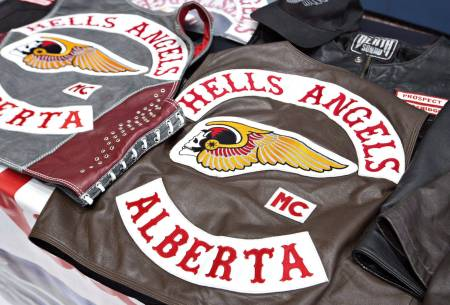 Hells Angels vests, taken during a police raid in Edmonton on April 25, 2014. THE CANADIAN PRESS/Jason Franson