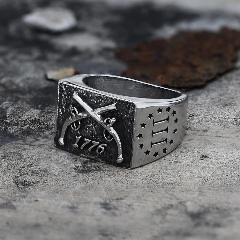 3%er 1776 crossed muskets stainless steel biker ring